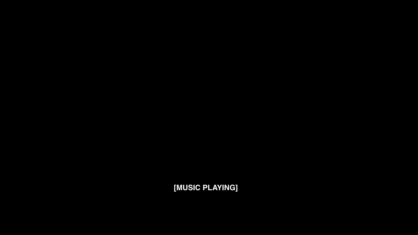 "A black screen with subtitles reading ""Music playing""."